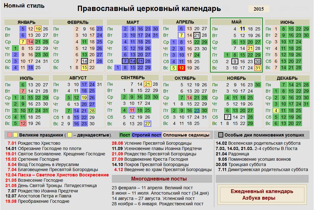 Православный церковный календарь на 2015 год