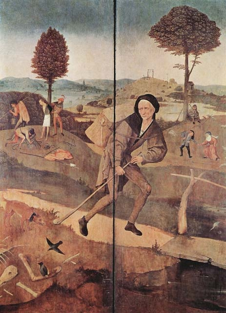 Блудный сын. Внешние ставни алтаря «Воз сена», фрагмент. Иеронимус Босх. 1500-1502