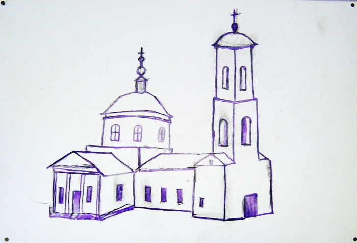 Рисунок храма из музея